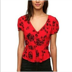 Urban Outfitters 40's style peplum top blouse